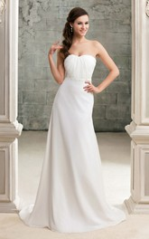 Strapless Maxi Sheath Dress With Beading and Ruched Top