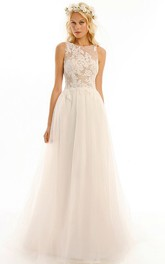 Jewel Floor-Length Appliqued Tulle Wedding Dress With Brush Train And Illusion
