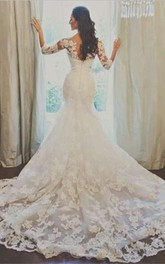 Elegant 3-4-long-sleeve Illusion Tulle Wedding Dress Lace Appliques