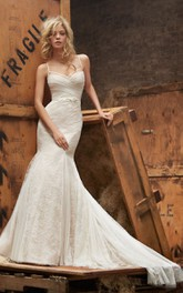 Gorgeous Spaghetti Strap Lace Fit and Flare Gown With Bow and Ruched Bodice