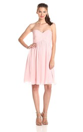 Mini A-line Short Ruched Chiffon Dress