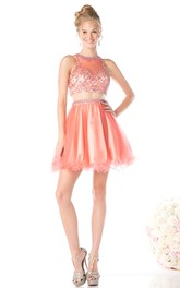 A-Line Jewel-Neck Sleeveless Keyhole Dress With Ruffles And Beading