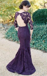 Trumpet Maxi Scoop 3-4 Sleeve Backless Lace Satin Dress