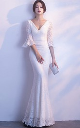 Mermaid 3/4 Poet Sleeve Sexy Wedding Dress With Deep V-neck And Straps Back