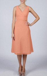V Neck V Back Sleeveless A-line Chiffon Knee Length Dress Blush