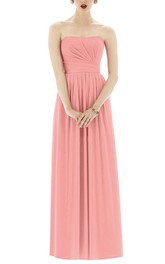 Strapless Pleated Chiffon Long Dress