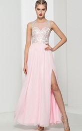 Scoop Neck Appliques Sequins Split-Front Prom Dress