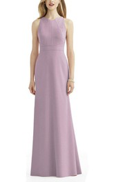 Sheath Floor-length Sleeveless Bridesmaid Dress with Keyhole Back