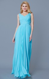 Sleeveless V Neck Pleated Long Chiffon Dress
