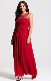 Scoop Neckline Modest A-Line Gown With Squared Back