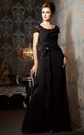 Cap-Sleeved Long Mother Of The Bride Dress With Beadings And Ruffles