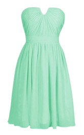 Strapless Notched Chiffon Short Dress With Band