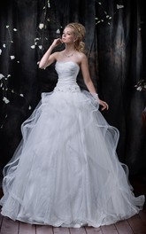 Ball Gown Maxi Strapless Sleeveless Lace-Up Tulle Dress With Ruffles And Flower