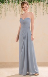 Sweetheart A-Line Floor-Length Gown With Crisscrossed Ruches