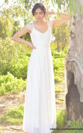 Short Sleeve V-Neck A-Line Chiffon Dress With Lace Embellishment and Satin Bow