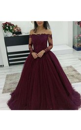 Off-the-shoulder Long Sleeve Sweep Train Tulle Ball Gown Dress