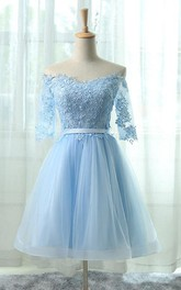 Adorable Off Shoulder A-line Organza Lace Applique Dress