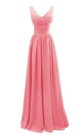 Sleeveless V-neck Long Chiffon Gown With Pleats