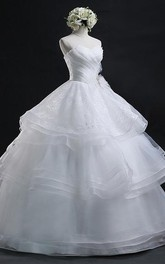 Ball Gown Sweetheart Organza Wedding Dress With Lace