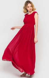Scoop Neck Cap Sleeve Pleated A-line Chiffon Ankle Length Dress Red