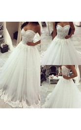 Romantic Tulle Lace Appliques Princess Wedding Dress 2018 Sweetheart