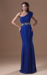 Exquisite Trumpet One Shoulder Beaded Chiffon Satin Special Occasion Dresses