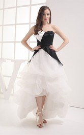 Black-And-White High-Low Ruffles and Dress With Tiers