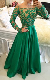 Beautiful Green Long Sleeve Prom Dress 2018 A-Line With Pearls