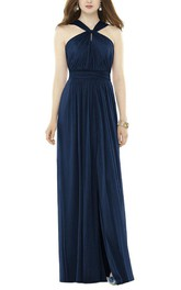Ruched Chiffon Bridesmaid Dress with Front Split