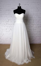 Sweetheart A-Line Tulle Bridal Dress With Pleats and Ruchings