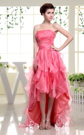 Strapless High-Low Organza Dress With Cascading Ruffles