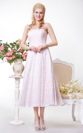 Simple Strapless A-line Lace Tea Length Dress
