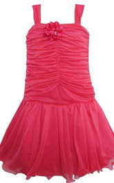 Sleeveless A-line Pleated Dress With Flower and Straps