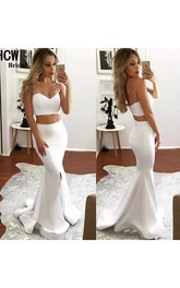 Sweetheart Sleeveless Sweep Train Satin Mermaid Two Piece Dress