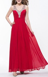 Charming V Neck Squins Ruffles Beading Ankle Length Prom Dress