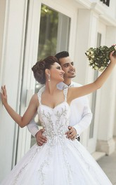 Delicate Strap Tulle Wedding Dress Beadings Appliques Ball Gown