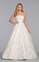Glamorous Strapless Satin Ball Gown With Bow at Back