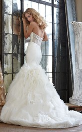 Stylish Strapless Fit and Flare Organza Dress With Sheer Corset Back