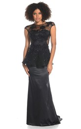 Sheath Jewel Appliqued Maxi Cap-Sleeve Satin Prom Dress With Beading And Peplum