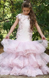Appliqued Bateau Low-V Back Tier Flower Girl Dress