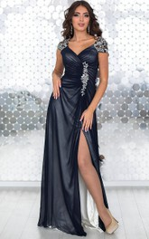 Sheath Floor-Length V-Neck Short Sleeve Chiffon Pleats Appliques Zipper Dress
