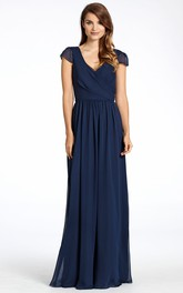 Pleated V-Neck Floor-Length Cap-Sleeve Chiffon Bridesmaid Dress With Low-V Back