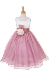 Sleeveless Square-neck Organza Dress With With Flower Belt