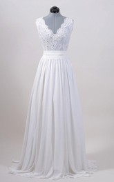 A-Line Sleeveless V-Neck Chiffon Dress With Lace Bodice and Cinched Waistband