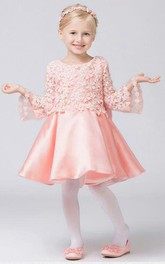 Flower Girl Jewel Neck Satin Mini Dress With Appliqued Top