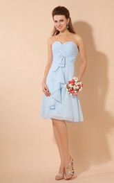 Rustic Knee-Length Chiffon Dress With Criss-Cross Ruching