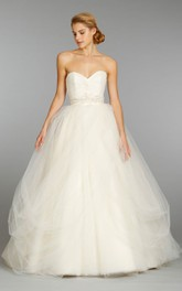 Demure Sweetheart Neckline Tulle Ball Gown With Beaded Embroidered Waistline