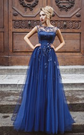 A-Line Floor-Length Bateau Short Sleeve Tulle Pleats Appliques Keyhole Dress