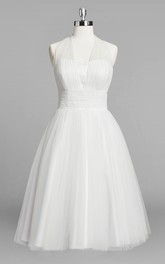 Halter A-Line Short Tulle Wedding Dress With Ruching