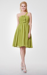 One Shoulder A-line Short Chiffon Dress With Pleats